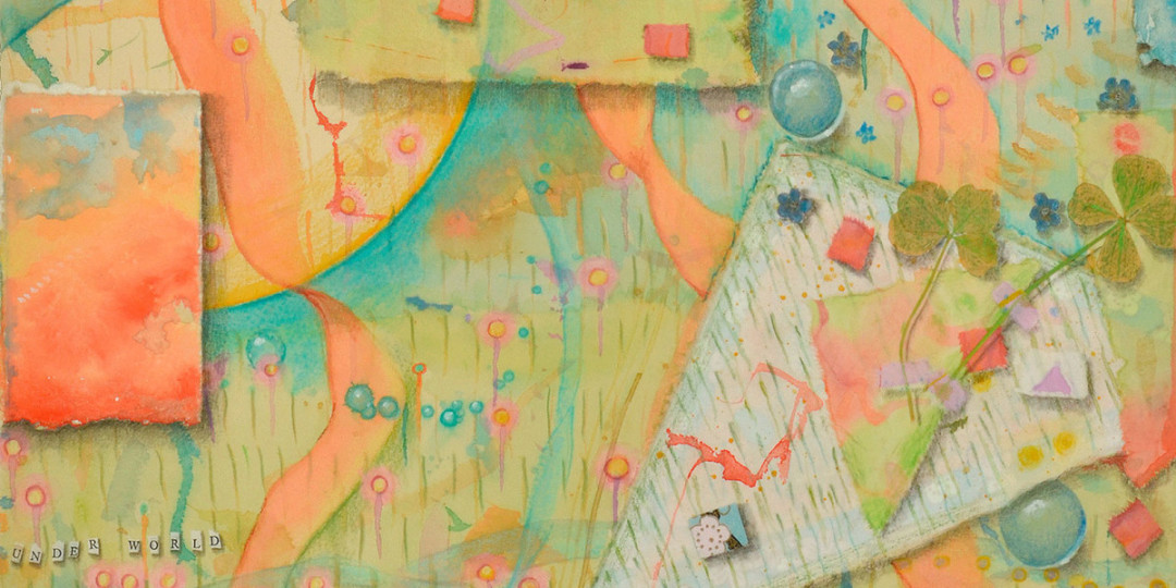Three Worlds, detail of watercolor, drawing, collage by Kathleen O'Brien