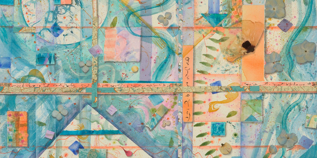 Crossroads & Quadrants, detail of watercolor, drawing, collage by Kathleen O'Brien