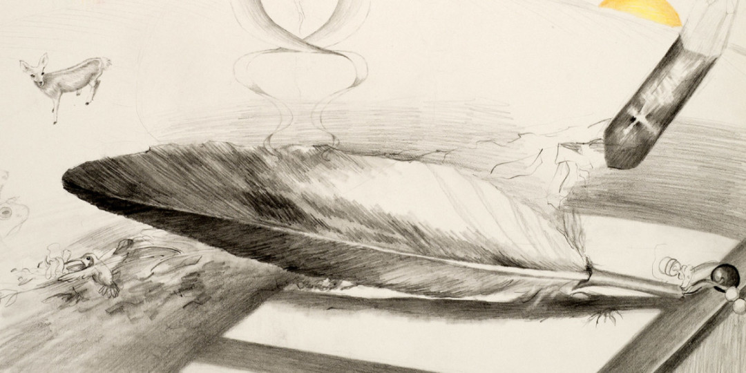 Eagle Feather drawing, detail, Kathleen O'Brien