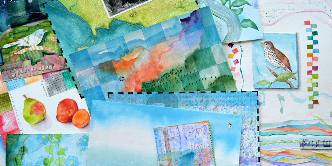 Stack of paintings,, detail of several watercolor, drawing, collage by Kathleen O'Brien