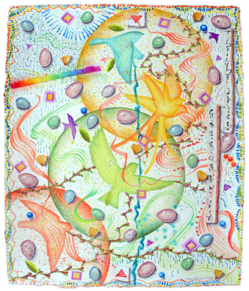 """""""Egg Hunt, Ostara"""", watercolor, drawing, collage by Kathleen O'Brien"""