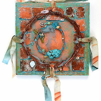 """Talisman for Tibet"" beaded 3-D collage Kathleen O'Brien"