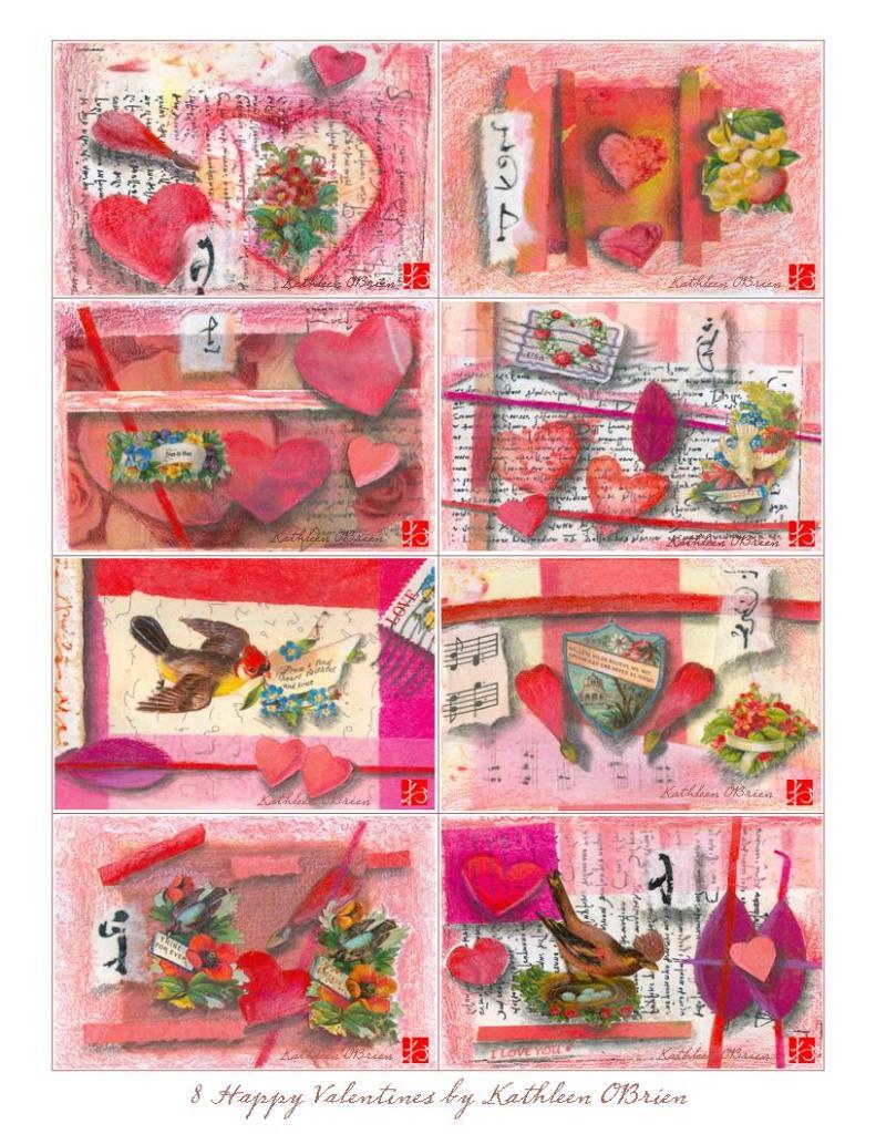 8 small valentines O'Brien w