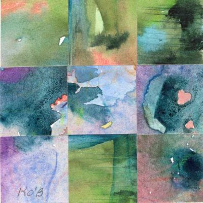 """09 Paintings 04"", watercolor collage, 3x3"" by Kathleen O'Brien"
