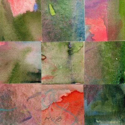 """09 Paintings 10"", watercolor collage, 3x3"" by Kathleen O'Brien"