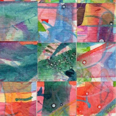 """15 Paintings 03"", watercolor collage,5x3"" by Kathleen O'Brien"