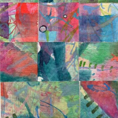 """15 Paintings 04"", watercolor collage,5x3"" by Kathleen O'Brien"